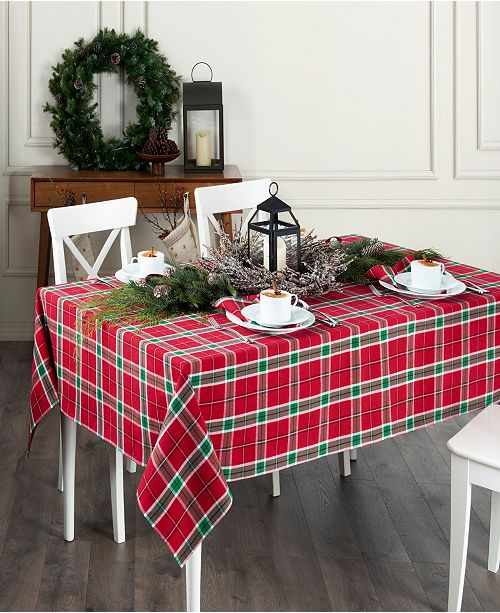 """Elrene Home For the Holidays Plaid Tablecloth - 60"""" x 102"""""""