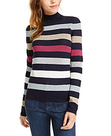 Mock-Neck Metallic Stripe Sweater, Created For Macy's