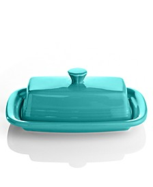 Turquoise XL Covered Butter Dish