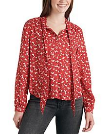 Ava Floral-Print Tie-Neck Top