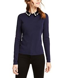 Embellished Velvet-Collar Sweater, Created For Macy's