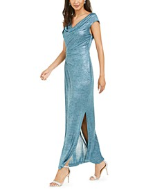 Cowlneck Metallic Slit Gown