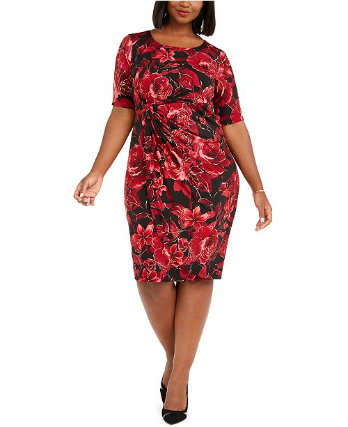 Connected Plus Size Metallic Floral-Print Sarong Dress