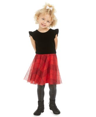 Toddler Girls Velvet & Plaid Dress, Created For Macy's