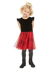 Toddler Girls Velvet & Plaid Dress, Created For Macy's