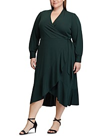Plus Size Surplice Midi Dress