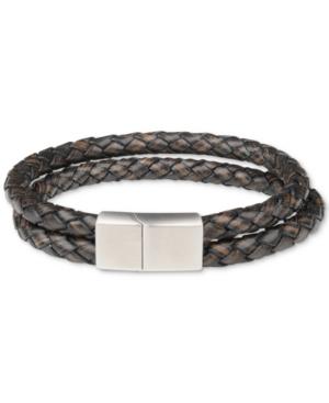Men's Double-Strand Braided Leather Bracelet