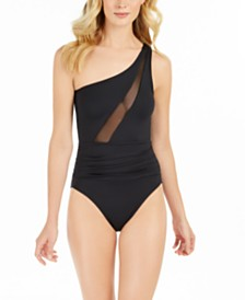 Slimming Mesh-Inset One-Shoulder One-Piece Swimsuit