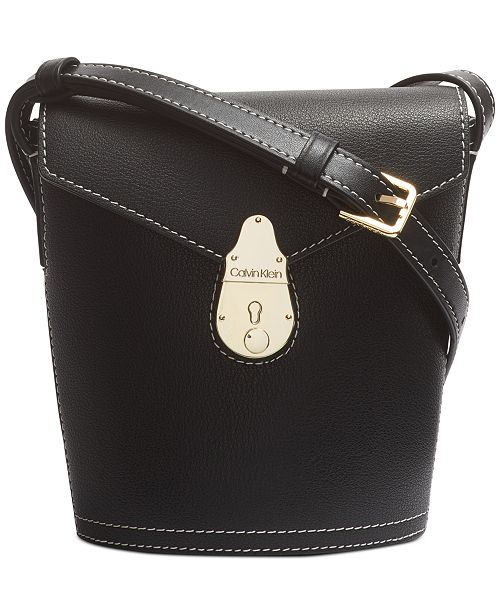 Calvin Klein Lock Leather Mini Bucket Bag