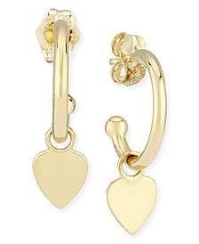 Dangle Heart Hoop Earrings in 14k Gold