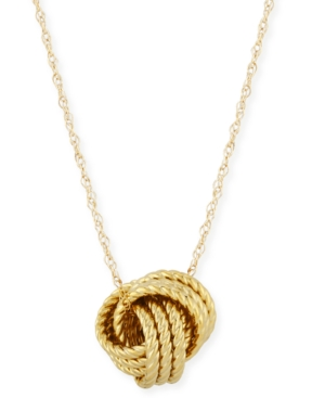 Rope Love Knot Necklace in 14k Yellow Gold