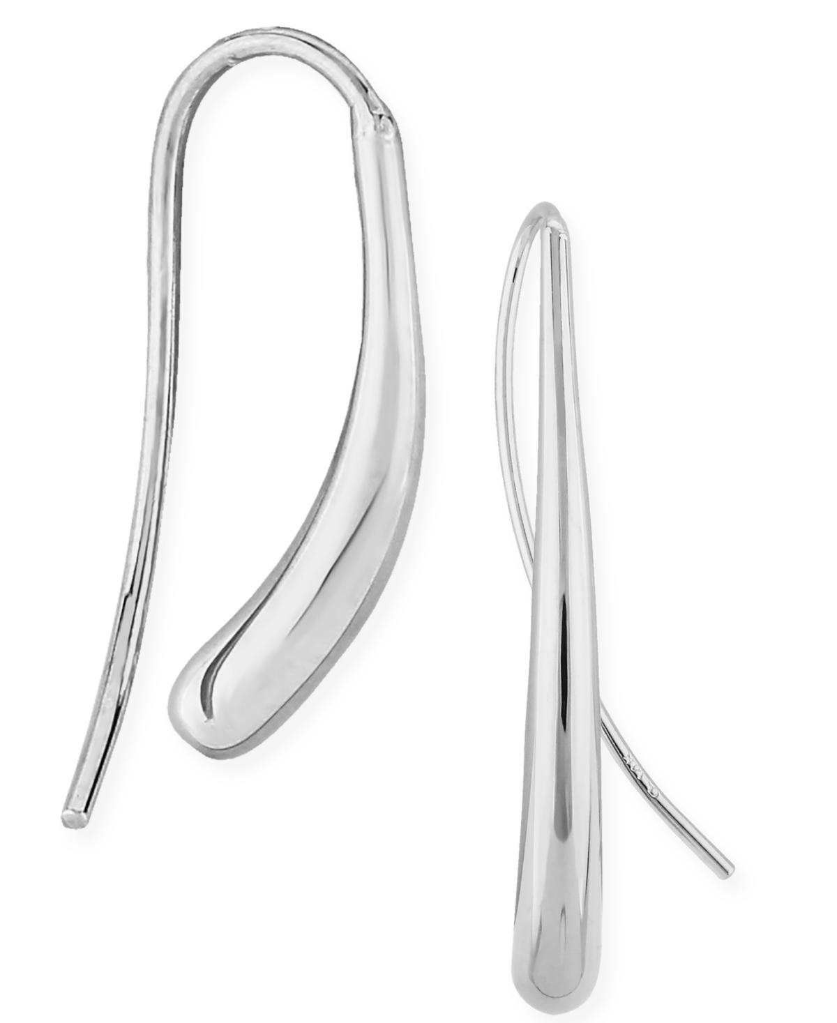 Fluid Teardrop Earrings Set in 14k White or Yellow Gold
