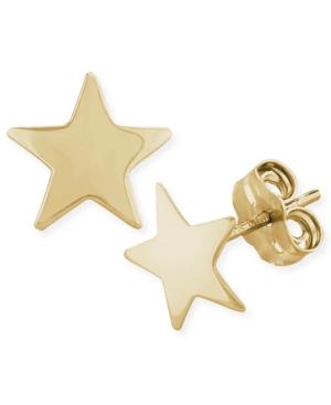 Flat Star Stud Earrings Set in 14k White Or Yellow Gold