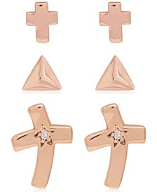 Link Up 3-Piece Set Triangle and Crosses Stud Earrings in 18K Rose Gold Over Sterling Silver