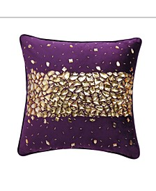 "Velvet Crystal Encrusted Accent Pillow 18"" x 18"""