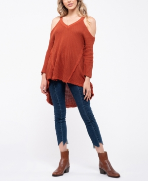 Blu Pepper Cold Shoulder Knit Top