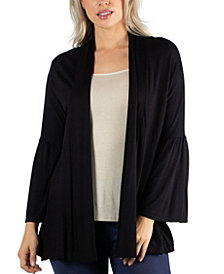 24Seven Comfort Apparel Long Flared Sleeve Open Front Cardigan