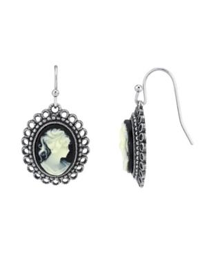 Oval Cameo Wire Drop Earrings