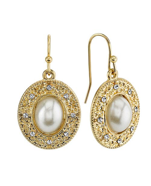 Downton Abbey Simulated Imitation Pearl Crystal Oval Drop Earrings