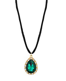 Crystal Emerald Teardrop on Cord Necklace