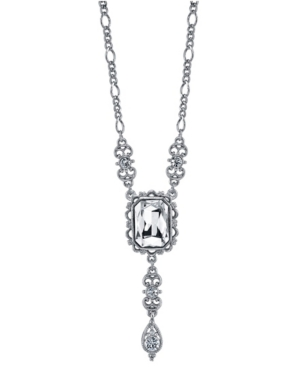 Square Crystal Drop Necklace