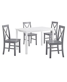 5 Piece Solid Wood Farmhouse Dining Set
