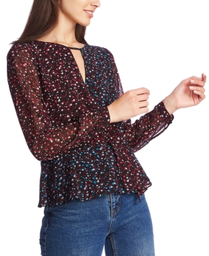 1.state Tops FLORAL-PRINT CROSS-FRONT TOP