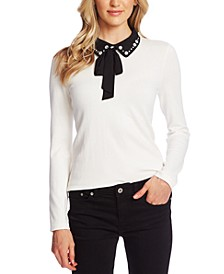 Collared Rhinestone-Embellished Sweater