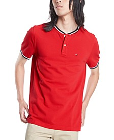 Men's Eaton Custom-Fit Tipped Collarless Polo Shirt