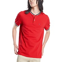 Deals on Tommy Hilfiger Mens Eaton Custom-Fit Tipped Collarless Polo Shirt