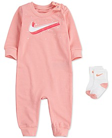 Baby Girls 2-Pc. Logo-Print Coverall & Socks Set