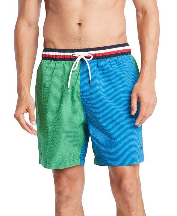 """Tommy Hilfiger Men's Colorblocked Seersucker Stripe 6-1/2"""" Swim Trunks"""