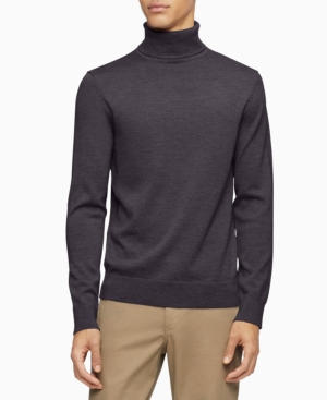 Men's Vintage Sweaters History Calvin Klein Merino Turtleneck Logo Sweater $89.50 AT vintagedancer.com