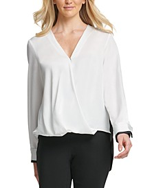 Hammered Satin Twist-Front Blouse