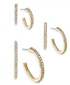 INC Gold-Tone 3-Pc. Set Pavé Hoop Earrings, Created For Macy's