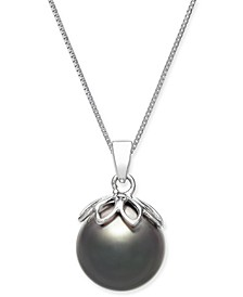 """Cultured Black Tahitian Pearl (10mm) 18"""" Pendant Necklace in 14k White Gold"""