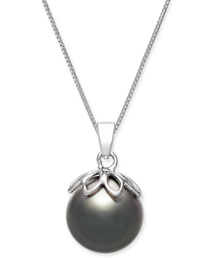 """Macy's - Cultured Black Tahitian Pearl (10mm) 18"""" Pendant Necklace in 14k White Gold"""
