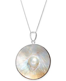 "Cultured Blister Pearl (35mm) 18"" Pendant Necklace in Sterling Silver"