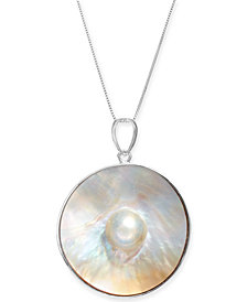 """Cultured Blister Pearl (35mm) 18"""" Pendant Necklace in Sterling Silver"""