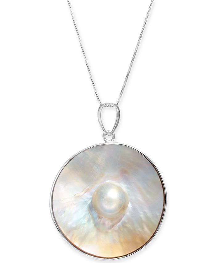 """Macy's - Cultured Blister Pearl (35mm) 18"""" Pendant Necklace in Sterling Silver"""