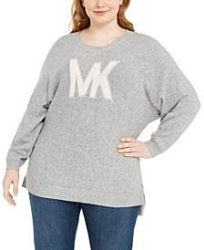 Plus Size Dolman-Sleeve High-Low Sweater
