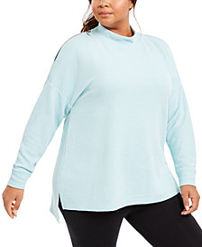 Ideology Plus Size Split-Shoulder Mock-Neck Top, Created for Macy's