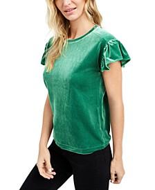 Velvet Flutter-Sleeve T-Shirt, Created For Macy's