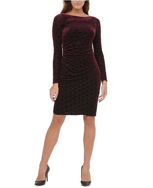 Tommy Hilfiger Ruched Velvet Sheath Dress