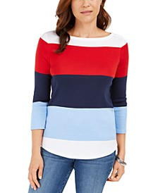Petite Cotton Colorblocked Boat-Neck Top, Created For Macy's