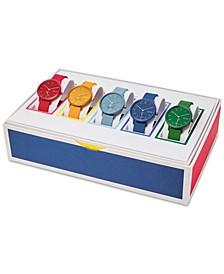 Unisex Aaren Kulor Multicolor Silicone Strap Watch 36mm Box Set