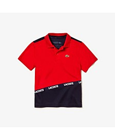 Little and Big Boys Sport Color Block Logo Taping Polo Shirt