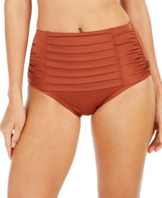 Pleated High-Waist Bikini Bottoms