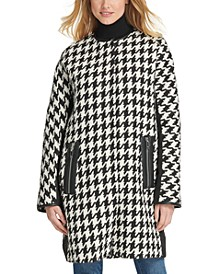 Faux-Leather-Trim Houndstooth Coat