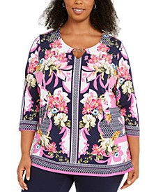 Plus Size Printed Keyhole Tunic, Created For Macy's